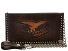 M&F Western Eagle Flag Patriotic Embossed Checkbook Wallet w/ Chain (Brown)