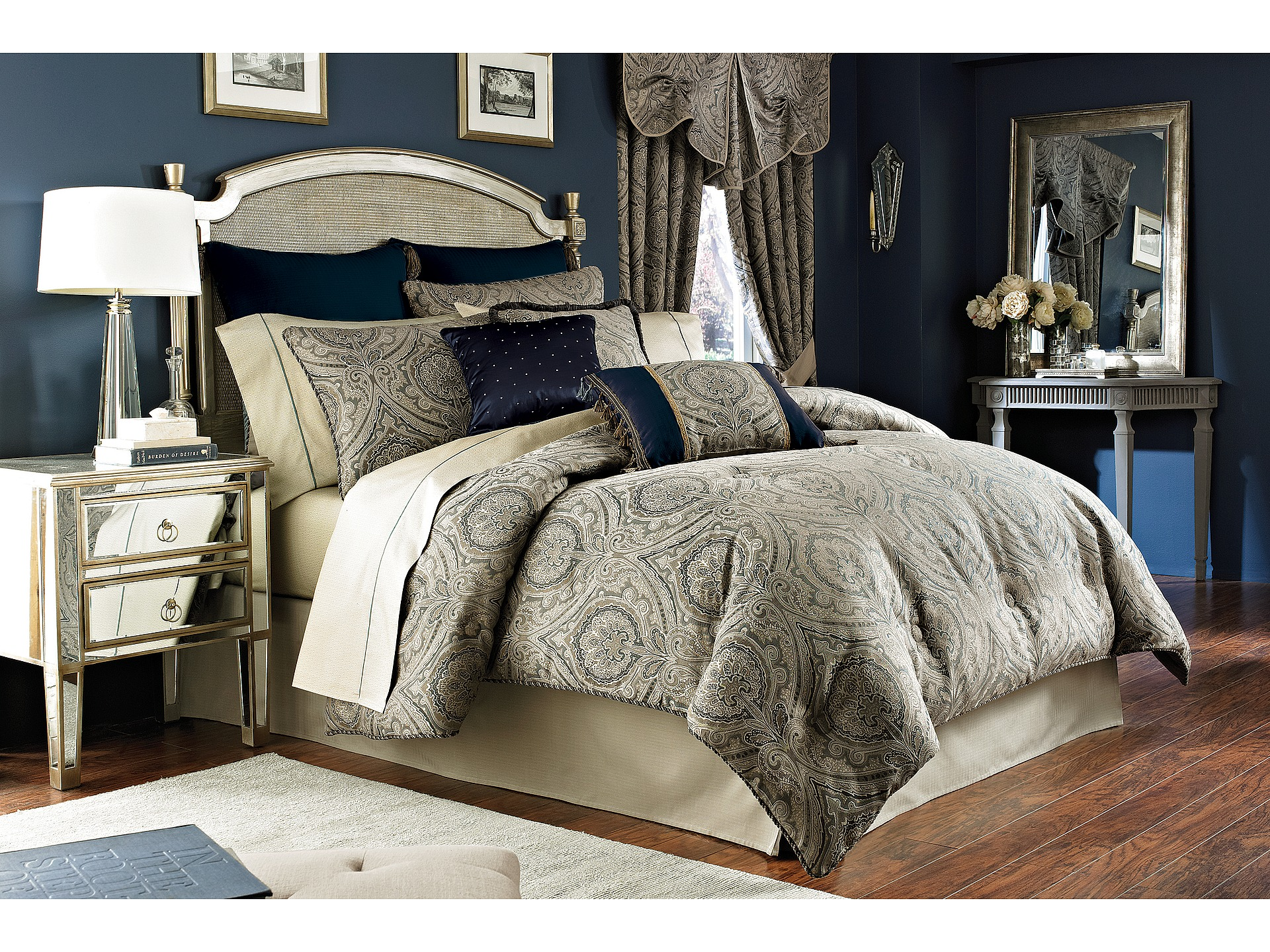 Croscill Hannah Comforter Set King Slate Blue Shipped