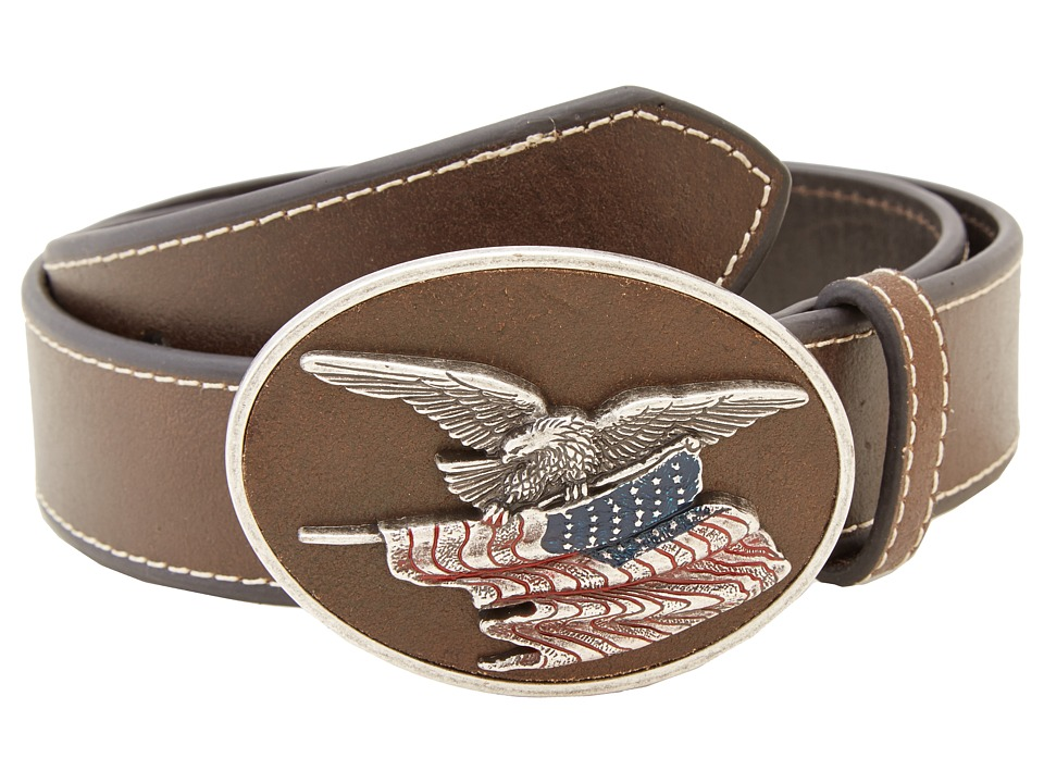 M&F Western - Eagle Flag Patriotic Flag Buckle Belt (Brow...