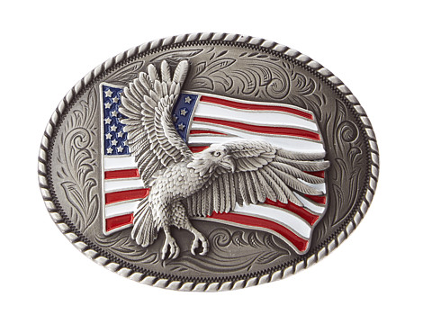Eagle Flag Oval Silver Belt Buckle