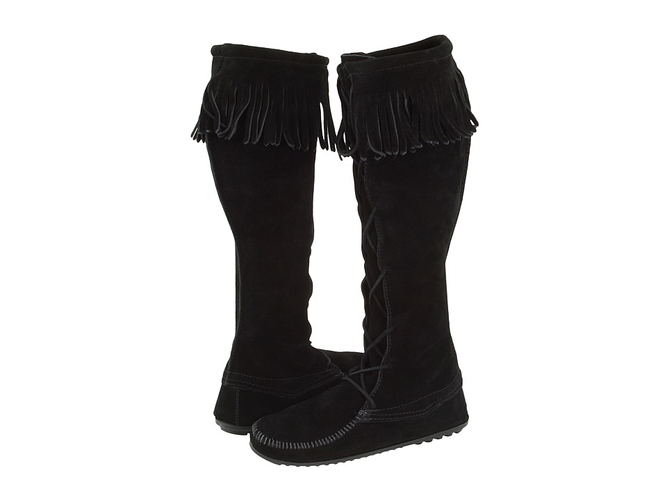 Minnetonka Front Lace Hardsole Knee-Hi Boot (Black Suede) Women