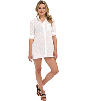 Tommy Bahama - Woven Dot High-Low Boyfriend Shirt w/ Roll Up Sleeves Cover-Up
