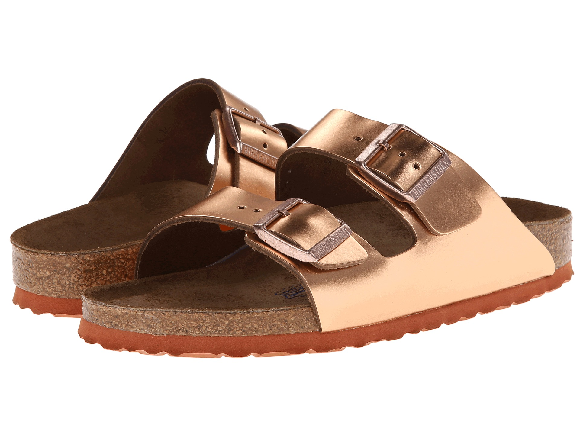 Birkenstock Arizona Soft Footbed Copper Metallic Leather ...