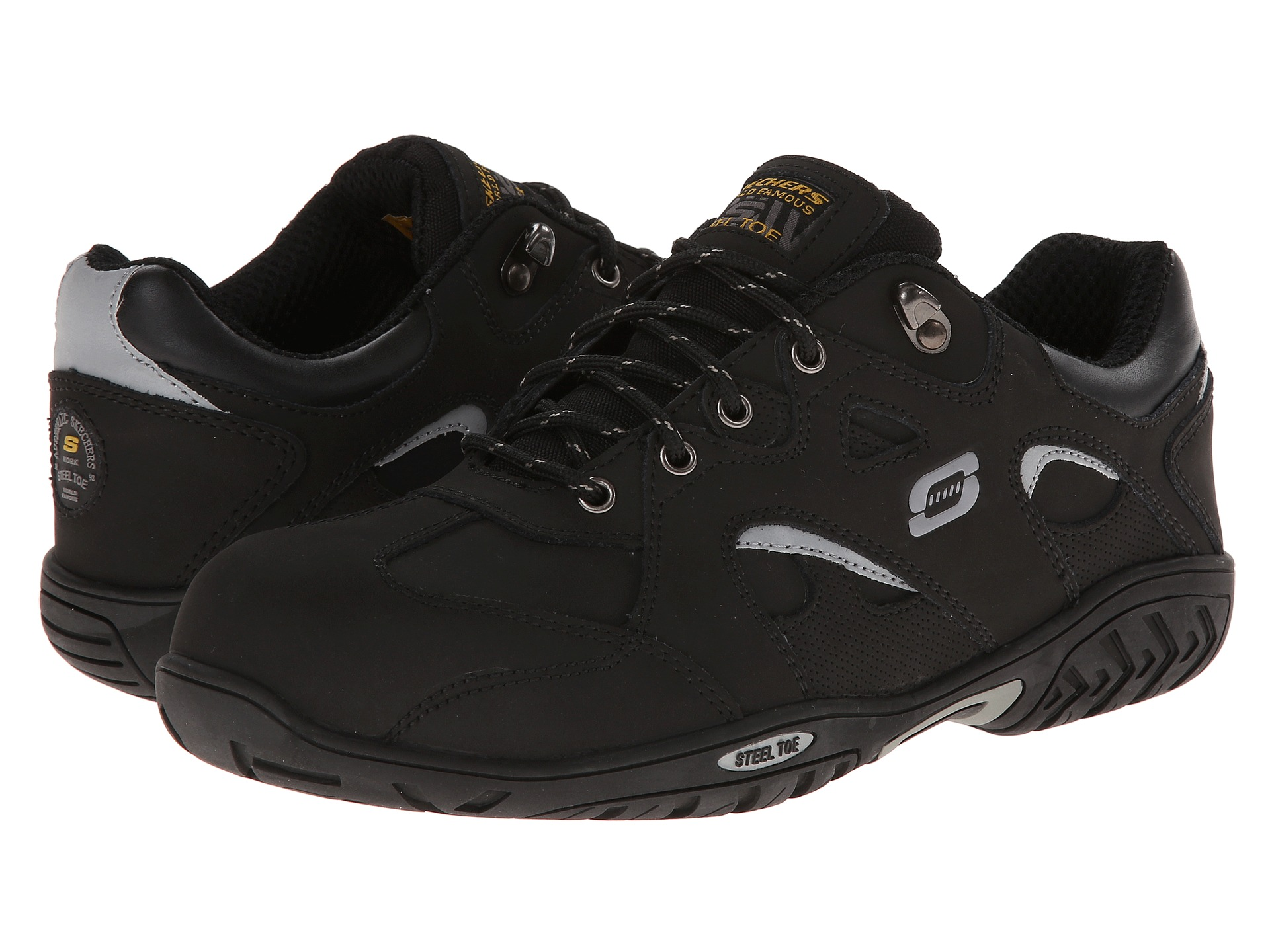 SKECHERS Work Joster Steel Toe Fusion Oxford Black - Zappos.com Free Shipping BOTH Ways