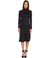 tibi - Cozy Stripe Turtleneck Long Sleeve Dress