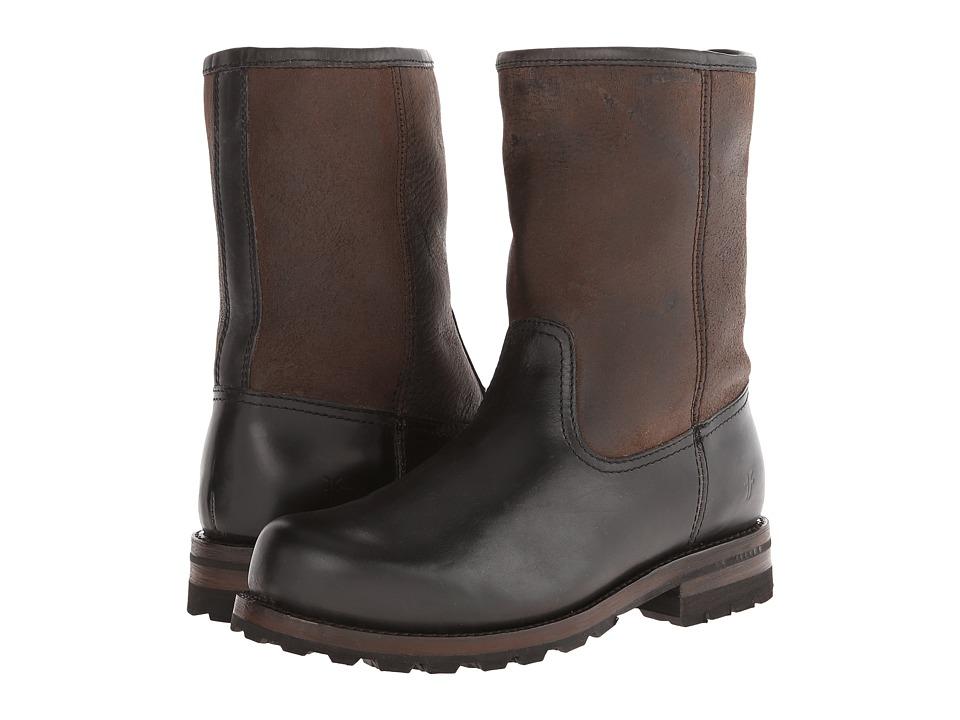 Frye - Warren Pull On (Black Smooth Full Grain/Shearling) Cowboy Boots