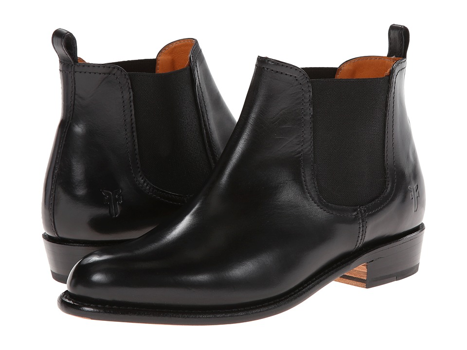 Frye - Dorado Chelsea Black Smooth Polished Veg Cowboy Boots $478.00 AT vintagedancer.com