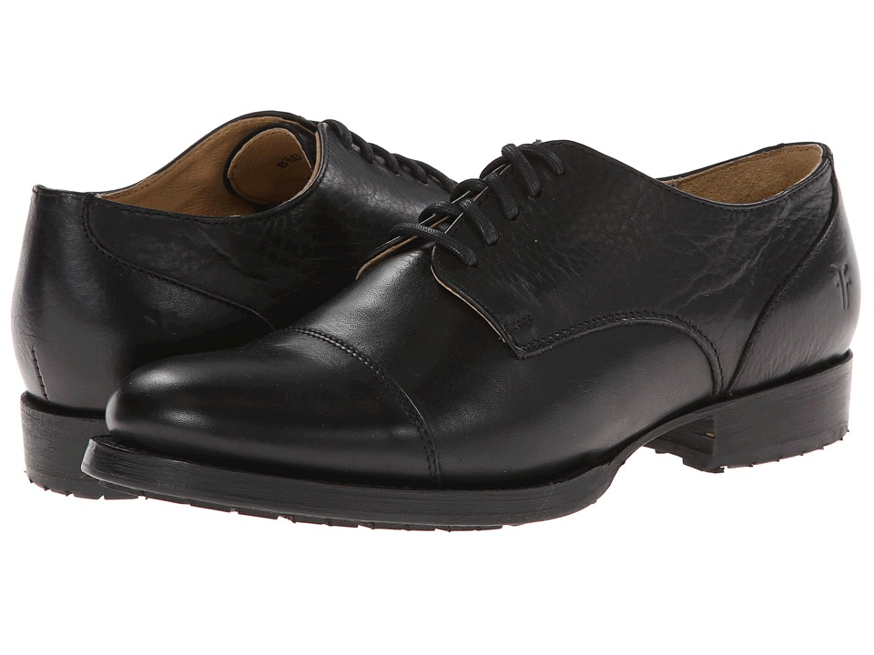 Frye - Erin Lug Oxford Black Soft Vintage Leather Womens Lace up casual Shoes $238.00 AT vintagedancer.com