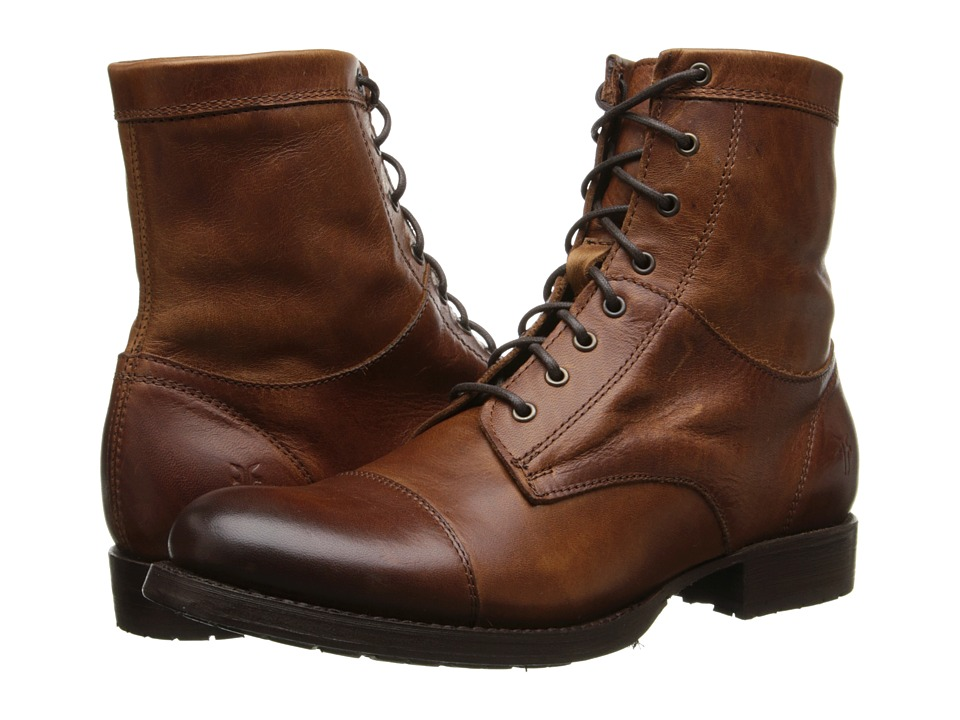Frye - Erin Lug Work Boot Cognac Antique Pull Up Cowboy Boots $288.00 AT vintagedancer.com