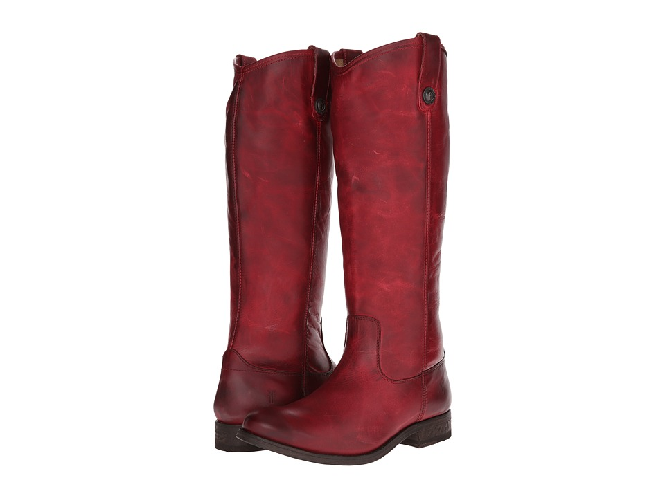 Frye Melissa Button Burgundy Washed Antique Pull Up Cowboy Boots