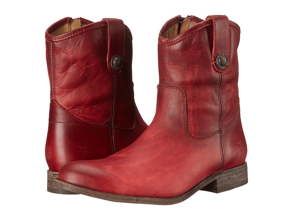 Frye Melissa Button Short Burgundy Washed Antique Pull Up Cowboy Boots
