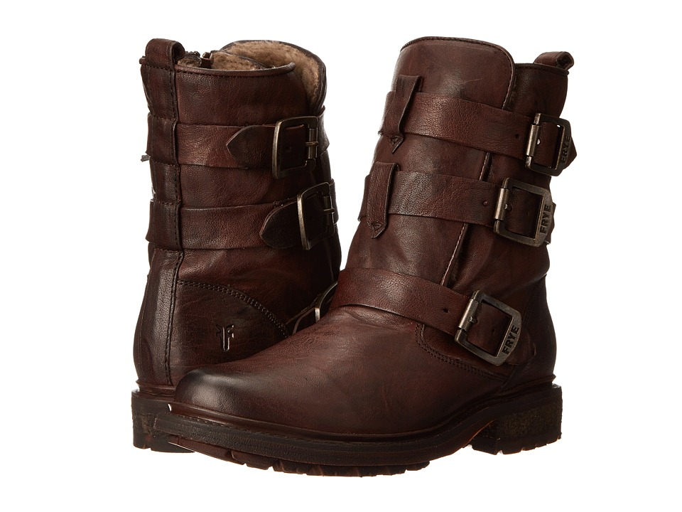 Frye - Valerie Strappy (Dark Brown Antique Soft Vintage/Shearling) Cowboy Boots