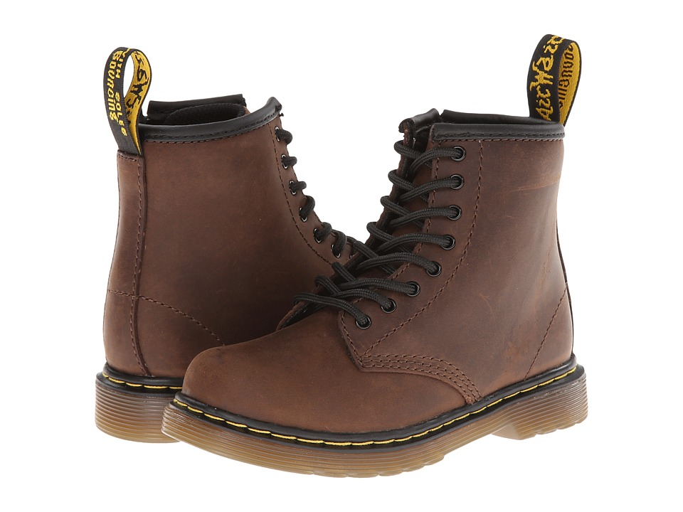 Dr. Martens Kids Collection Brooklee 8 Eye Boot Toddler Dark Brown Burnished Wyoming Kids Shoes