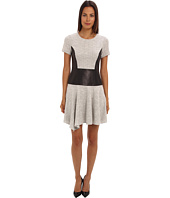 tibi - Whitby Check Knit Short Sleeve Dress w/ Embossed Combo