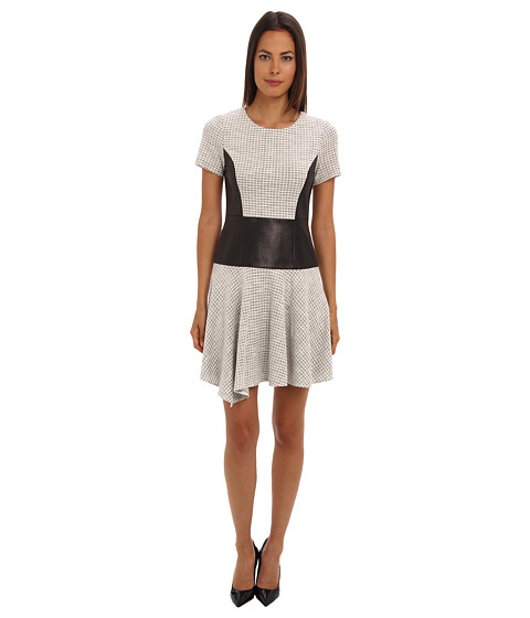 Shop tibi online and buy tibi Whitby Check Knit Short Sleeve Dress w/ Embossed Combo Natural Black Multi Online - tibi - Whitby Check Knit Short Sleeve Dress w/ Embossed Combo (Natural Black Multi) - Apparel: You'll look and feel fabulous in this figure-flattering dress. ; Round neckline. ; Short sleeves. ; Asymmetric hem. ; Embossed panel detailing. ; Back zip closure. ; Shell: 64% polyester, 36% cotton. Panels: 70% polyester, 30% polyamide. Partial lining:100% polyester. ; Dry Clean Only. ; Imported. Measurements: ; Length: 35 in ; Product measurements were taken using size 2. Please note that measurements may vary by size.