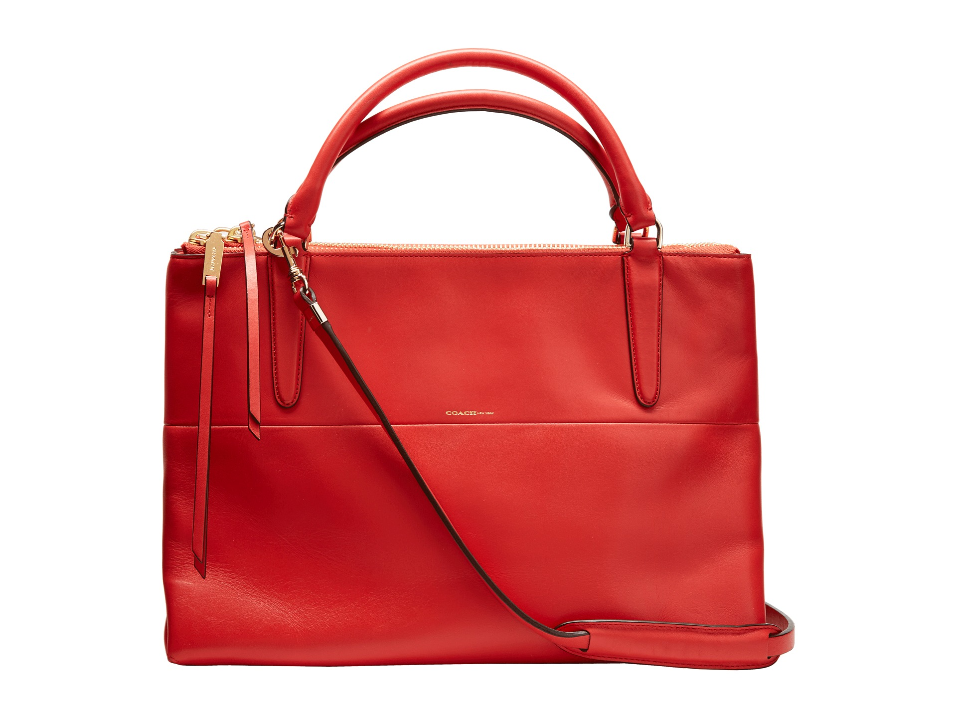 coach borough bag retro leather gold classic vermillion