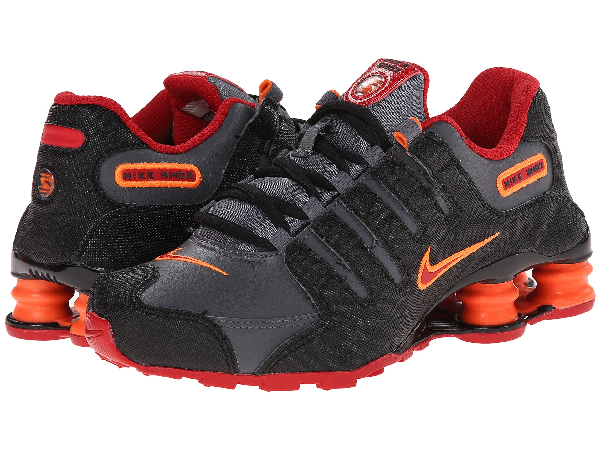 mens nike shox deliver black orange