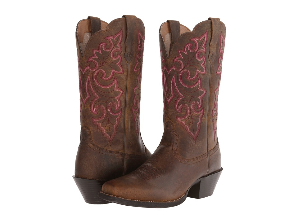 Ariat Round Up Square Toe (Powder Brown) Cowboy Boots