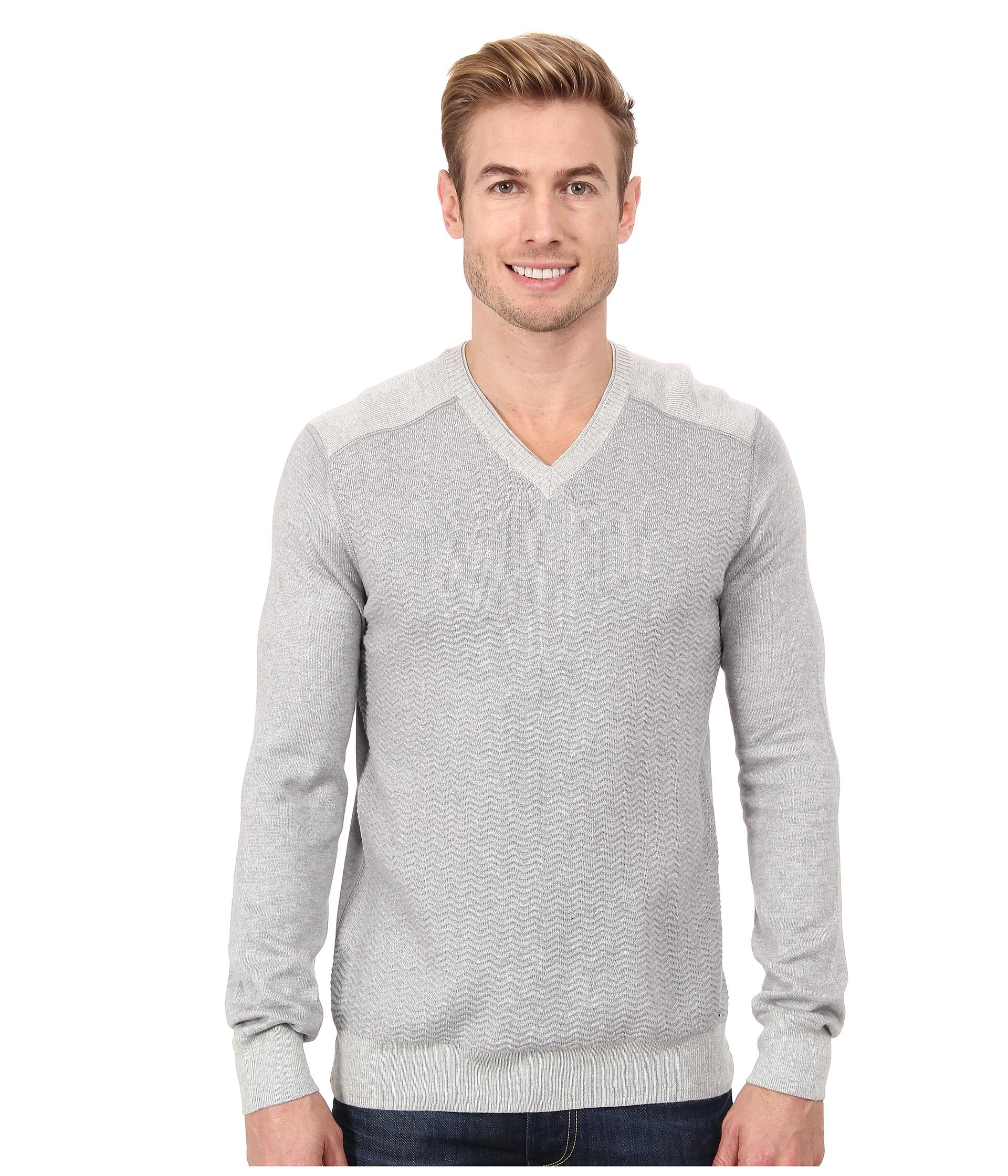 calvin klein jeans texture stitch v neck sweater soft grey. Black Bedroom Furniture Sets. Home Design Ideas