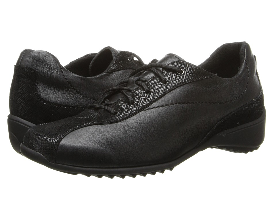 Munro American Sydney Black Leather/Crosshatch Womens Lace up casual Shoes