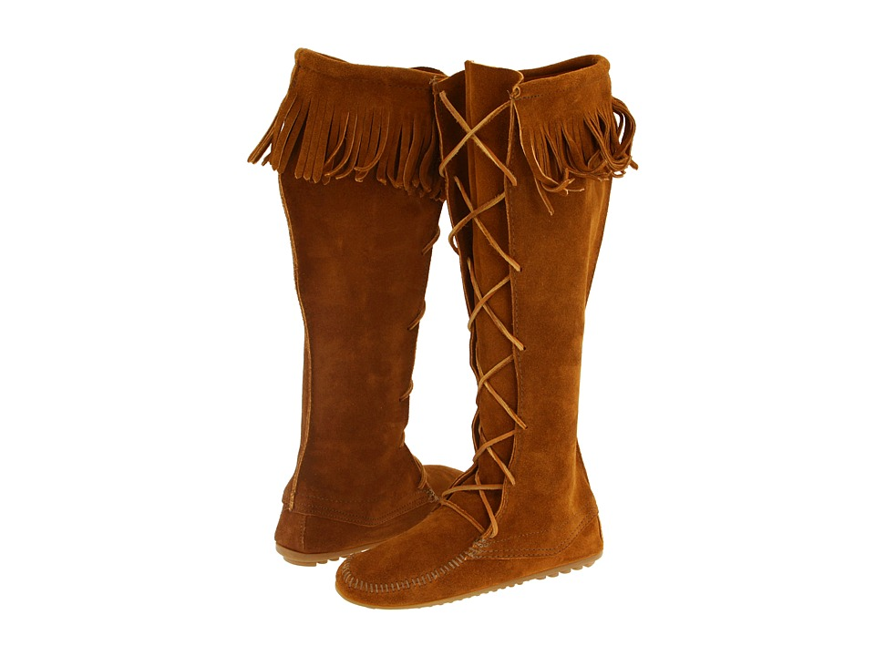 Minnetonka Front Lace Hardsole Knee-Hi Boot (Brown Suede) Women