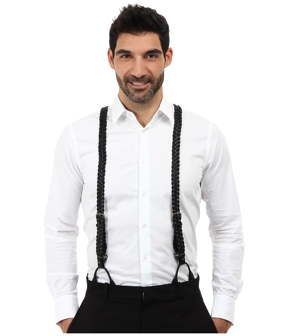 Men's Vintage Style Suspenders Trafalgar - Nevada Leather Brace Black Wallet $85.00 AT vintagedancer.com