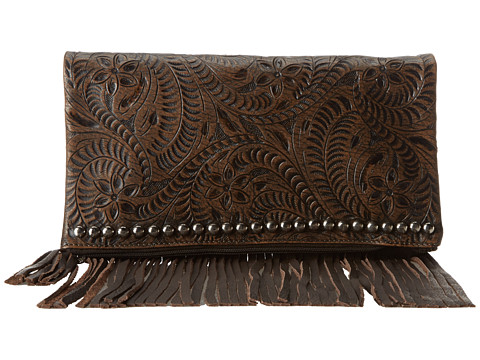 American West Rockabilly Folded Clutch - Distressed Charcoal Brown