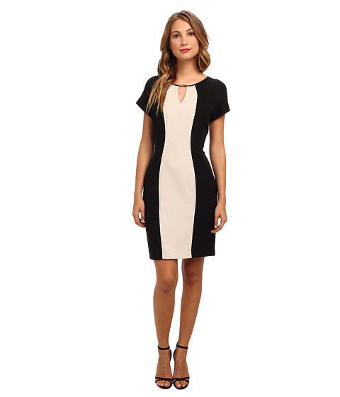 Shop Christin Michaels online and buy Christin Michaels Kelsey Dress Champ/Black/Ivory Online - Christin Michaels - Kelsey Dress (Champ/Black/Ivory) - Apparel: Reach your fashion high in this uplifting Christin Michaels dress. ; Poly blend with a smidgen of stretch for ease of movement. ; Beautiful sheath dress silhouette features structured seaming and a lovely color-blocked design. ; Jewel neckline with hard-ware detail and keyhole cutout. ; Short-sleeve construction. ; Back zip closure. ; Straight hemline. ; 95% polyester, 5% spandex; Combo: 96% polyester, 4% spandex; Lining: 100% polyester. ; Dry clean only. ; Imported. Measurements: ; Length: 38 in ; Product measurements were taken using size 6. Please note that measurements may vary by size.