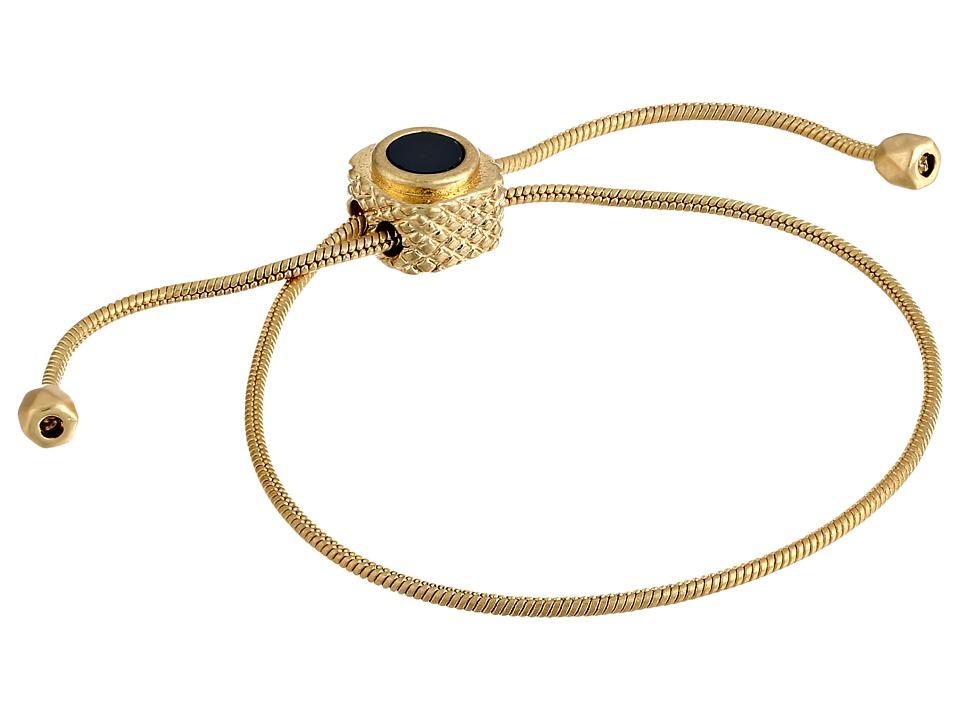 Sam Edelman Riveting Stone Inlay Slider Bracelet Black/Gold Bracelet