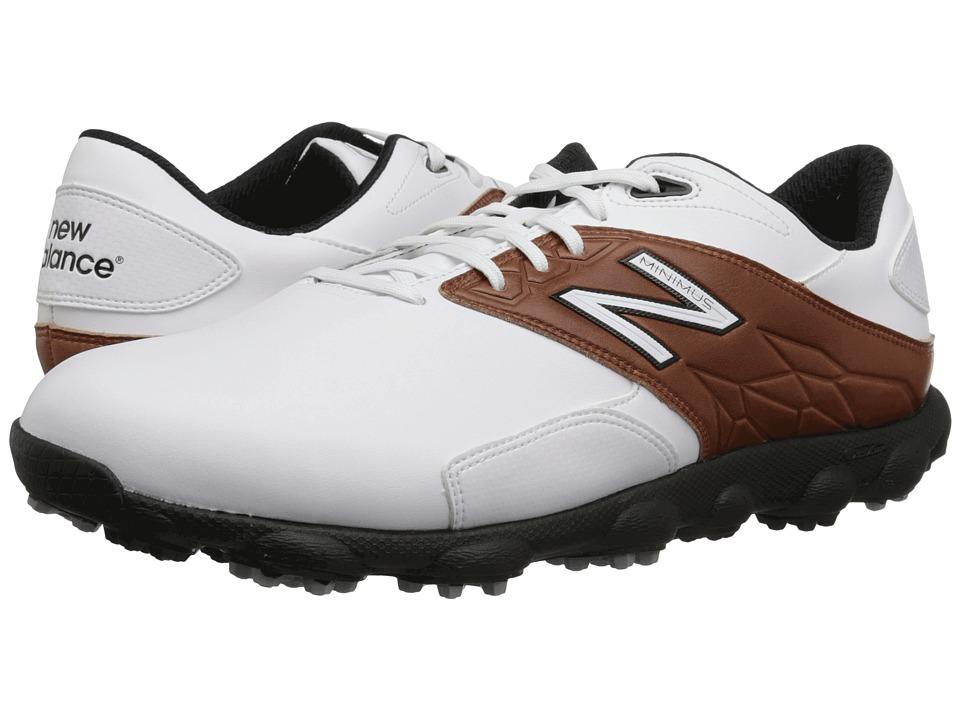 New Balance Golf Minimus LX White/Brown Mens Golf Shoes