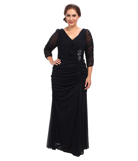 Adrianna Papell Plus Size 3/4 Sleeve Side Drape Gown - Zappos.com ...