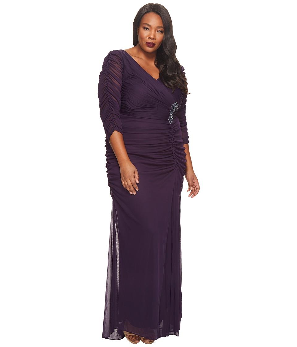 Adrianna Papell Plus Size 3/4 Sleeve Side Drape Gown (Aubergine) Women