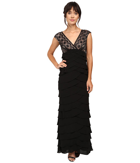 Adrianna Papell Lace Bodice Shutter Bottom Gown
