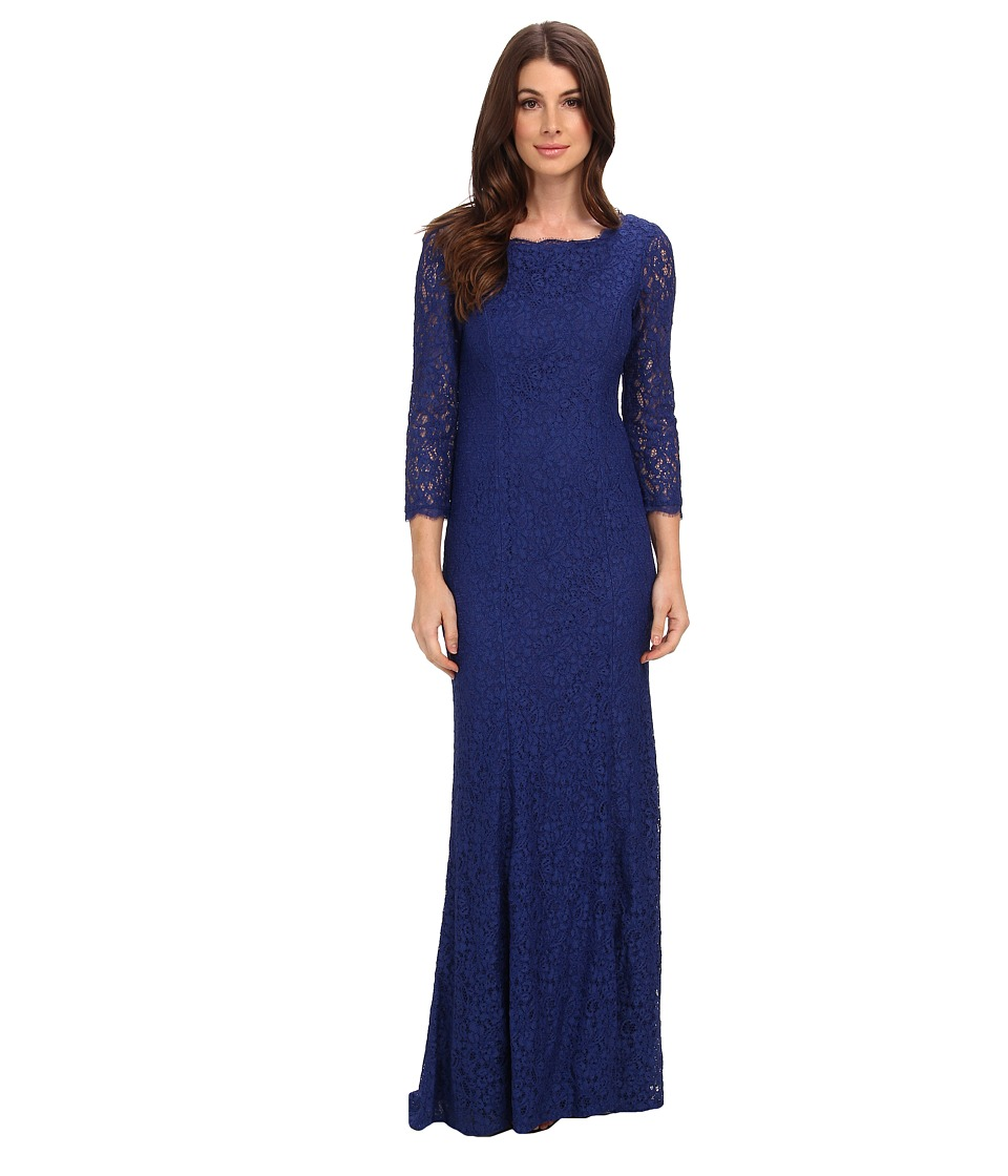 Image of Adrianna Papell - 3/4 Sleeve Lace Gown w/ Godet Skirt (Prussian) Women's Dress