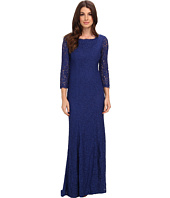 Adrianna Papell - 3/4 Sleeve Lace Gown w/ Godet Skirt