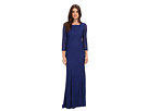 Adrianna Papell 3/4 Sleeve Lace Gown w/ Godet Skirt
