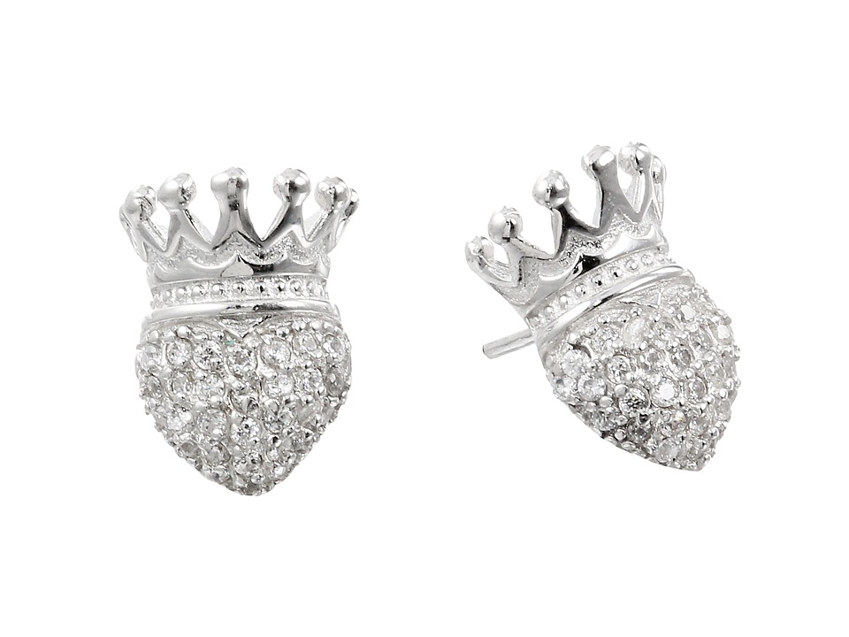 King Baby Studio - Crowned Heart Post Earring Pave Cz