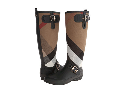 Shop Burberry online and buy Burberry Birkback Black Footwear - Zappos.com is proud to offer the Burberry - Birkback (Black) - Footwear: Knee high rain boots. ; Buckle detail. ; Signature brand print. ; Pull on design. ; Back quarter pull tab for easy wear. ; Adjustable buckles for personalized fit. ; Canvas/rubber upper. ; Leather lined. ; Lightly padded synthetic insole. ; Rubber outsole. ; Imported. Measurements: ; Heel Height: 3 4 in ; Weight: 1 lb 15 oz ; Circumference: 15 1 2 in ; Shaft: 15 1 4 in ; Platform Height: 1 4 in ; Product measurements were taken using size 38 (US Women's 8), width B - Medium. Please note that measurements may vary by size.