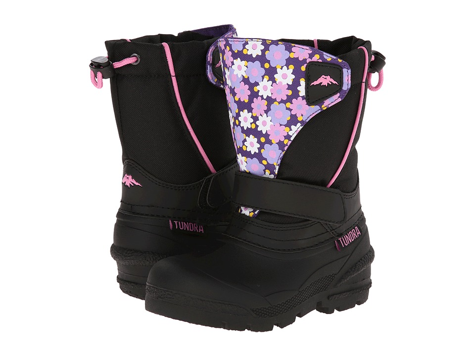 Tundra Boots Kids Quebec Medium Toddler/Little Kid/Big Kid Black/Flower Girls Shoes