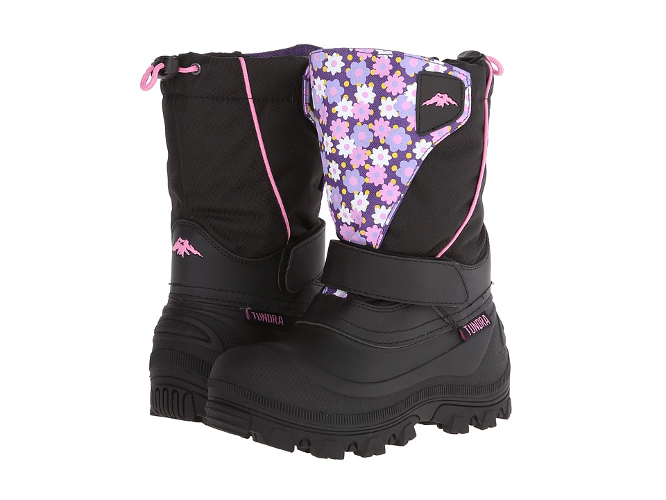 Tundra Boots Kids Quebec Wide (Toddler/Little Kid/Big Kid) (Black/Flower) Girls Shoes