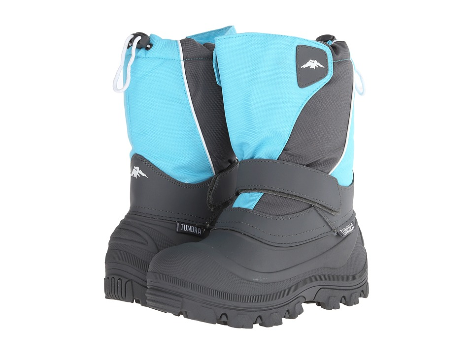 Tundra Boots Kids Quebec Wide (Little Kid/Big Kid) (Teal/Grey) Kid's Shoes