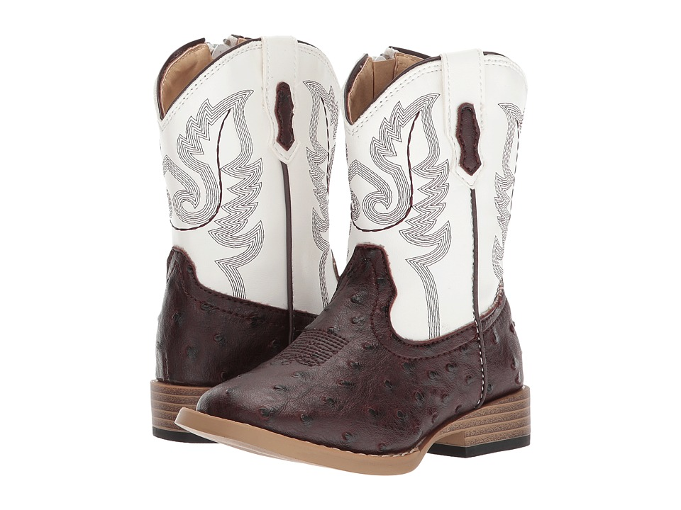 Roper Kids Western Square Toe Boot (Toddler) (Brown/White) Cowboy Boots