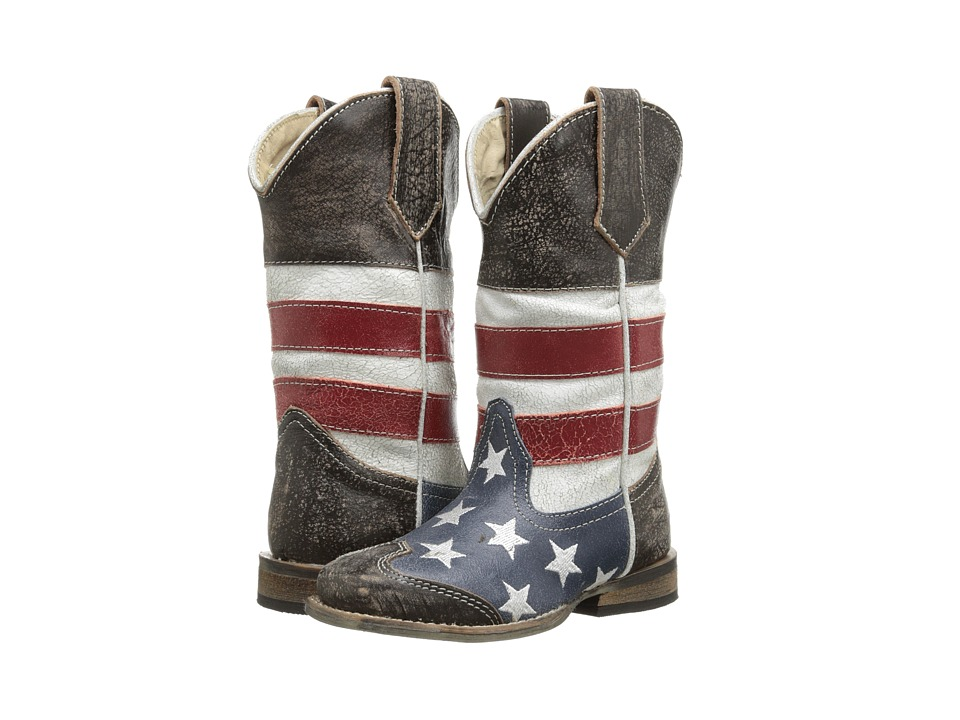 Roper Kids American Flag Square Toe Boot Toddler/Little Kid Blue Cowboy Boots