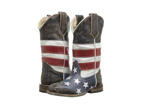 Roper Kids American Flag Square Toe Boot (Toddler/Little Kid) - Blue