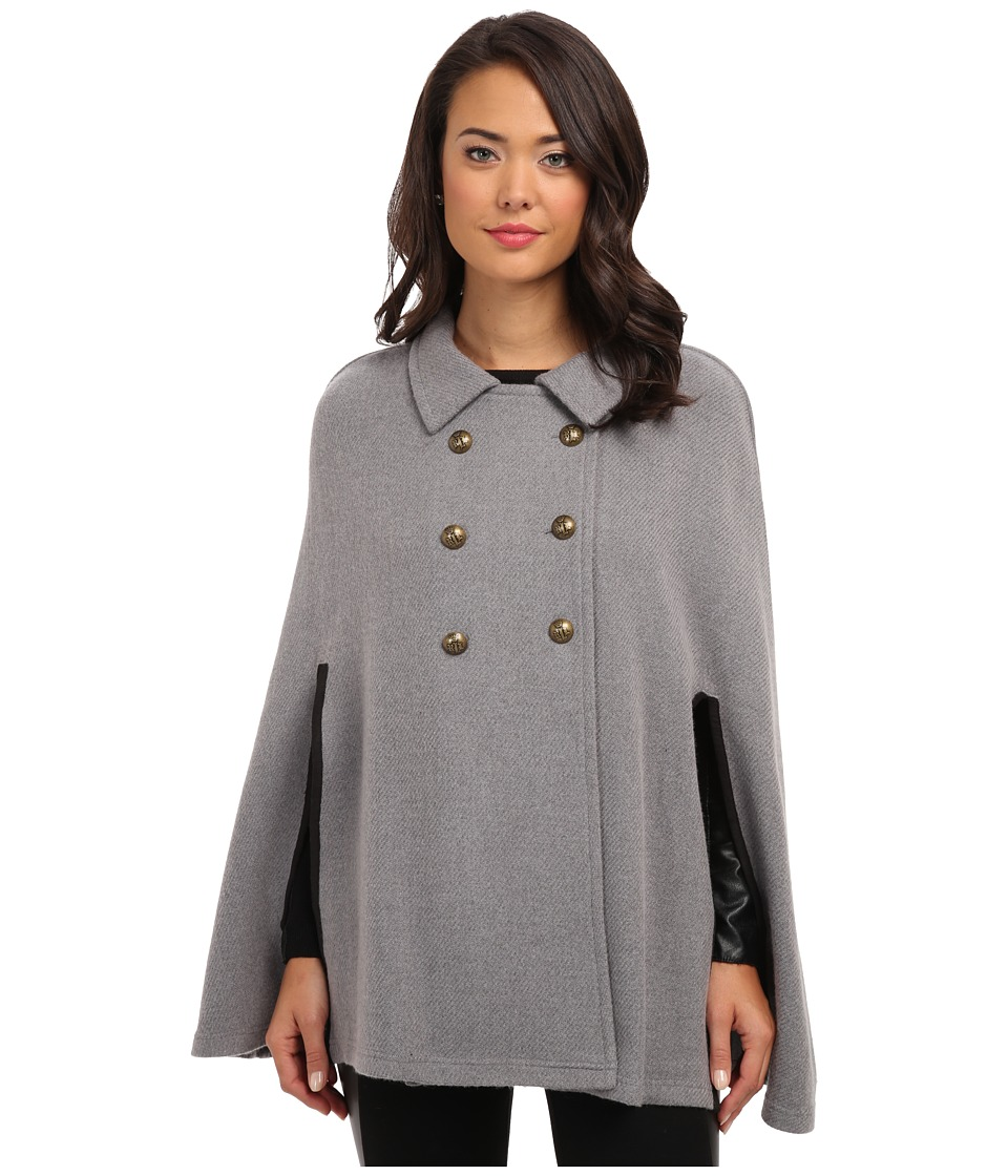 LAUREN by Ralph Lauren - Double-Breasted Edwardian Cape Grey Heather Womens Sweater $150.00 AT vintagedancer.com