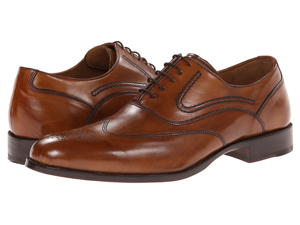 Johnston amp Murphy - Stratton Wingtip Tan Calfskin Mens Lace Up Wing Tip Shoes $185.00 AT vintagedancer.com
