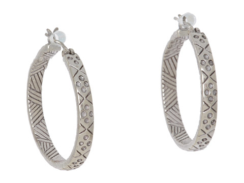 The Sak Etched Hoop Earrings - Silver