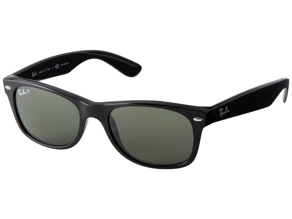 Ray-Ban RB2132 New Wayfarer 52mm (Black Frame/Green Polarized Lens) Sport Sunglasses
