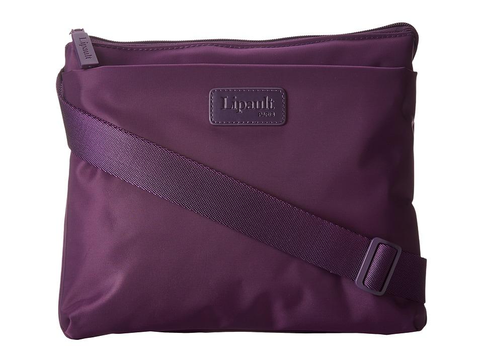 Lipault Paris Large Horizontal Cross Body Bag Purple Cross Body Handbags