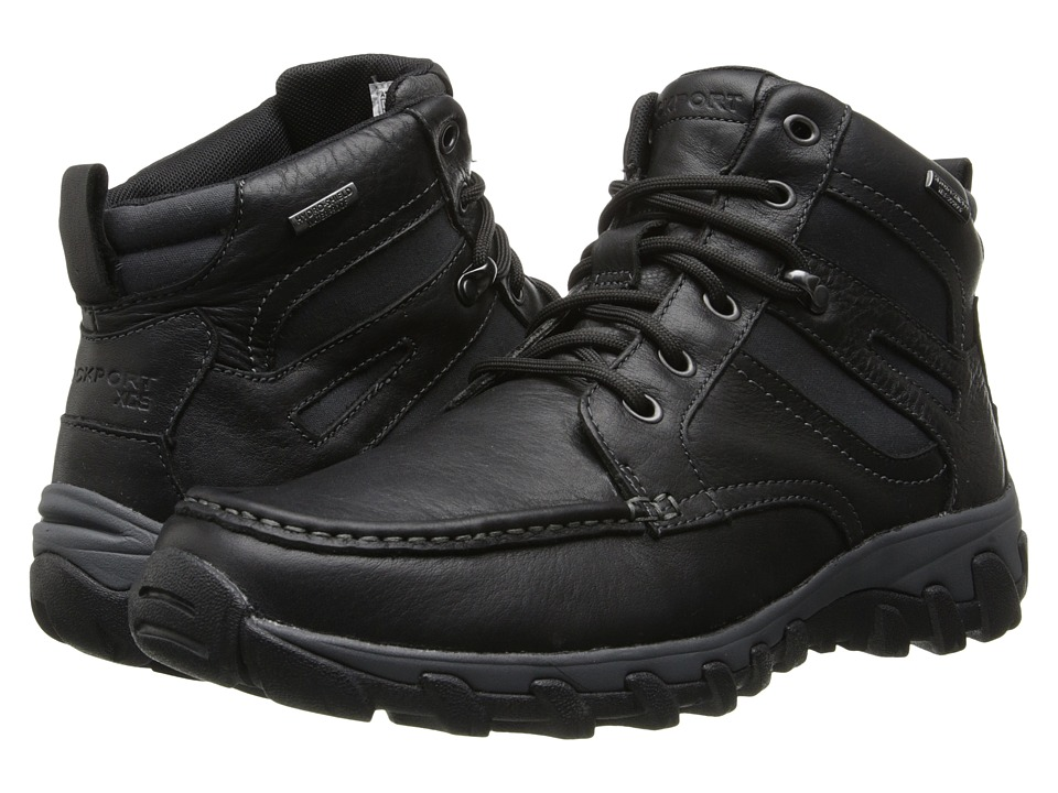 Rockport Cold Springs Plus Mocc Toe Boot High 7 Eyelets (Black Leather) Men